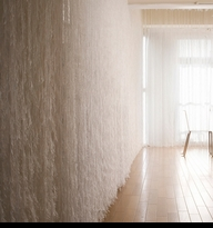 10 Feet Long - White Feathered Polyester String Curtain - 50 Inches Wide