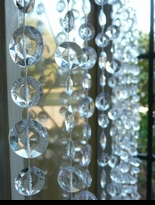 10' Large Diamond Cut Clear Beaded Curtain