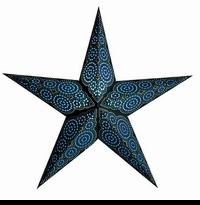 "24"" Paper Starlight Lamp - Marrakesh Black and Turquoise"