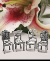4 Pewter Chair Place Card Holders