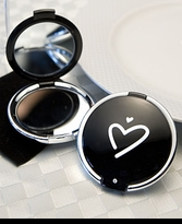 5 Black Compact Mirrors with Heart