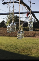 6 Hanging Glass Wedding Bottles with Jute String