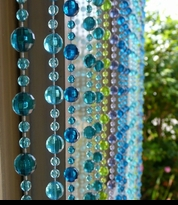 Blue Beaded Curtains - Door Curtains