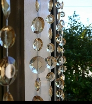 Champagne Colored Beaded Curtains - Large Diamond Cut - 6 Feet Long