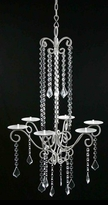 White Metal Beaded Candle Chandelier