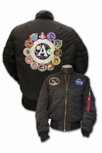 Mens Flight Jacket  Apollo Mission Patches  Black