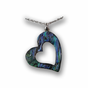 Heart Pendant Abalone Necklace