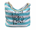 I Need My Space Large Striped Zip Tote - Assorted Colors