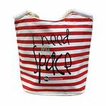 I Need My Space Small Striped Zip Tote - Assorted Colors