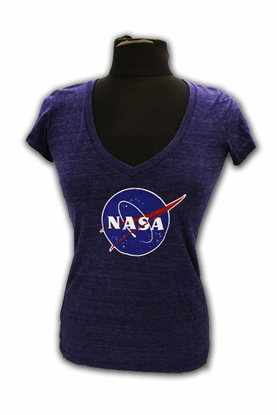 Junior T-Shirt - NASA Meatball V-Neck - Sapphire