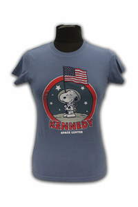 Junior T-Shirt - Moon Man Snoopy - Blue