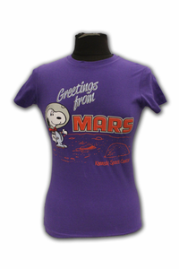 Junior T-Shirt - Snoopy Greetings From Mars - Purple