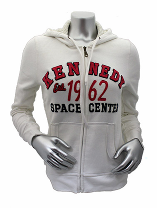 Womens Hooded Sweatshirt Kennedy Space Center Established White