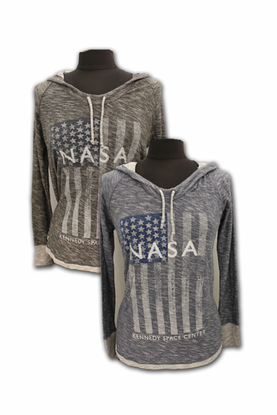 Ladies Long Sleeve Hooded T-Shirt NASA American Flag Charcoal or Denim