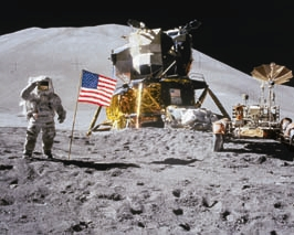 Man on the Moon <br>with Flag