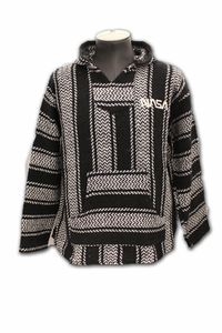 Mens Jacket - Baja Pullover - Black and White