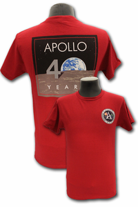 Mens T-Shirt Apollo 40 Years Red (2 for $10)