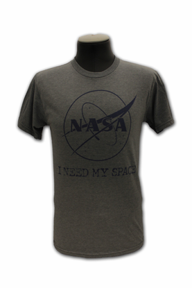 Mens T-Shirt I Need My Space Official NASA Insignia Grey