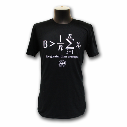 Mens T-Shirt Official NASA Be Greater Than Average Black