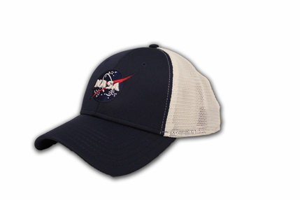 Mens Hat - American Needle NASA Meatball Logo Mesh Fitted - Navy/White