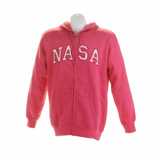 Womens Sweatshirt - NASA Zip Up - Raspberry
