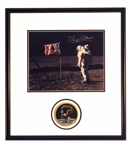 NEW! Buzz Aldrin Flag Salute Autographed Portrait