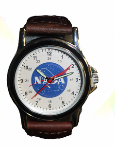 Mens NASA Meatball Watch - Brown Leather