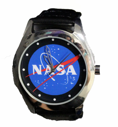 NASA Meatball Leather Band Watch