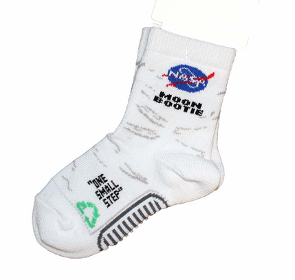 White Moon Booties Space  Socks - Toddler
