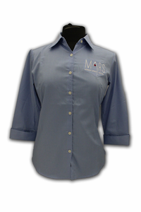 Womens 3/4 Sleeve Button Down - Mars KSC - Light Blue