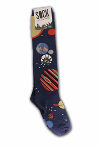 Ladies Knee High Socks Planets Navy