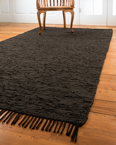 Limassol Leather Rug, Black