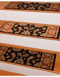 Sydney Tradional Style Carpet Stair Treads, Black