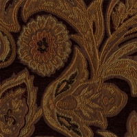 """Amelia - Black"" Brown Rich Paisley Scroll Upholstery Fabric by Kalin Fabrics"