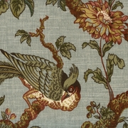 """Olana OXF - Bay Leaf"" Exotic Birds and Designer Floral Fabric Print by Waverly"