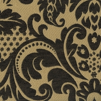 """Ena - Canyon Black"" Classic Black and Tan Damask Upholstery Fabric from Kalin"