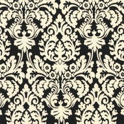 """Mini Muse - Black"" Ivory Beautiful Damask Fabric Print by P Kaufmann, Inc"