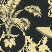 """Palm Palace - Onyx"" Outdoor Fabric Sun N Shade� Black Khaki Print by Waverly"