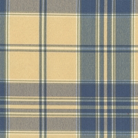 """April - Springs"" Fabulous Blue Cream Plaid Fabric Home Decor and Upholstery"