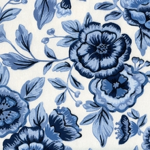 """Peasant Floral - Blue"" Gorgeous Blue White Floral Print Fabric for Home Decor"