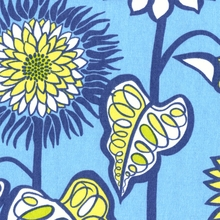 """Farmer's Market - Blue Jay""  Fresh Modern Blue Floral Fabric Print from Waverly"