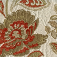 """Bristol - Carolina""  Pretty Orange Khaki Floral Matelasse Fabric from Kalin Fabrics"