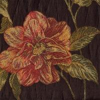 """Manor Garden - Chocolate"" Coral Rose Floral Upholstery Fabric by Robert Allen"