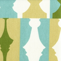 """So Silhouette - Turquoise"" Designer Chess Print Fabric for Home Decor by Waverly"