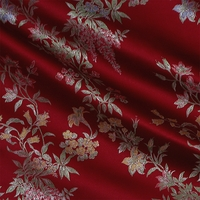 """Claridge - Berry"" Dark Red Brocade Fabric for Floral Oriental Home Decor Design"