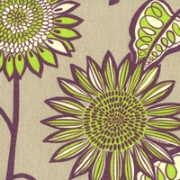 """Farmer's Market - Plum"" Fresh Modern Floral Cotton Fabric Print from Waverly"