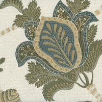 """Karen - Natural"" Traditional Floral Jacobean Upholstery Fabric by Kalin Fabrics"