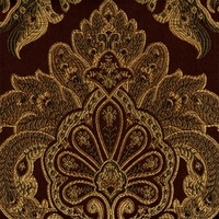 """Sue - Chocolate"" Gold and Brown Gorgeous Damask Fabric for Upholstery"