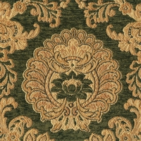 """Arlington - Gourmet"" Emerald Green Gold Damask Upholstery Fabric by Kalin"