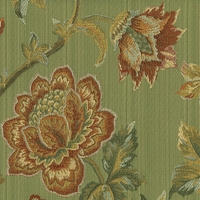 """Alora - Sage"" Beautiful Orange and Green Floral Fabric for Upholstery"